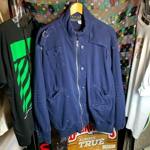 🔷 vintage premium navy blue tech jacket